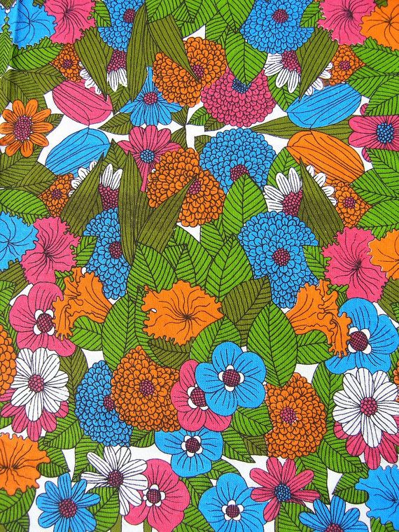 New 1960s 1970s Vintage Floral Cotton Tablecloth 100