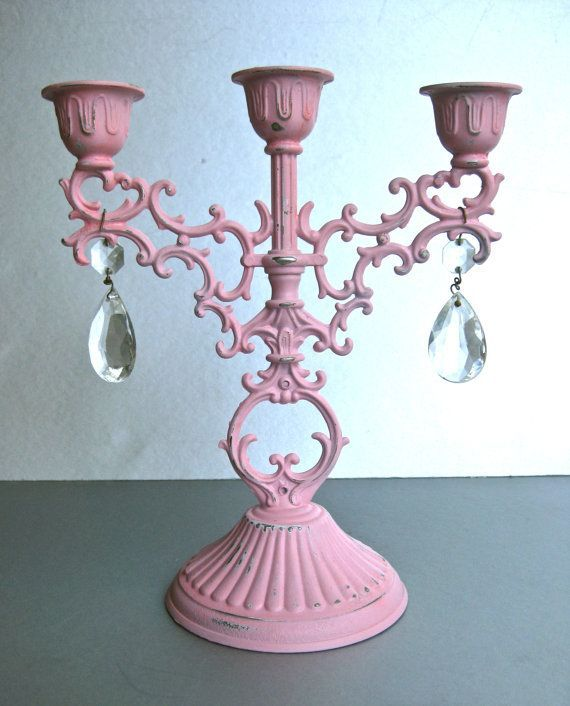 Vintage Pink Candelabra Candle Holder Crystals Shabby And Chic Cottage