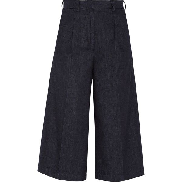 Iris and Ink Linn denim wide-leg culottes (£105) ❤ liked on Polyvore featuring pants, capris, culottes, jeans, pantalones, blue, wide-leg pants, wide leg trousers, blue wide leg pants and blue denim pants