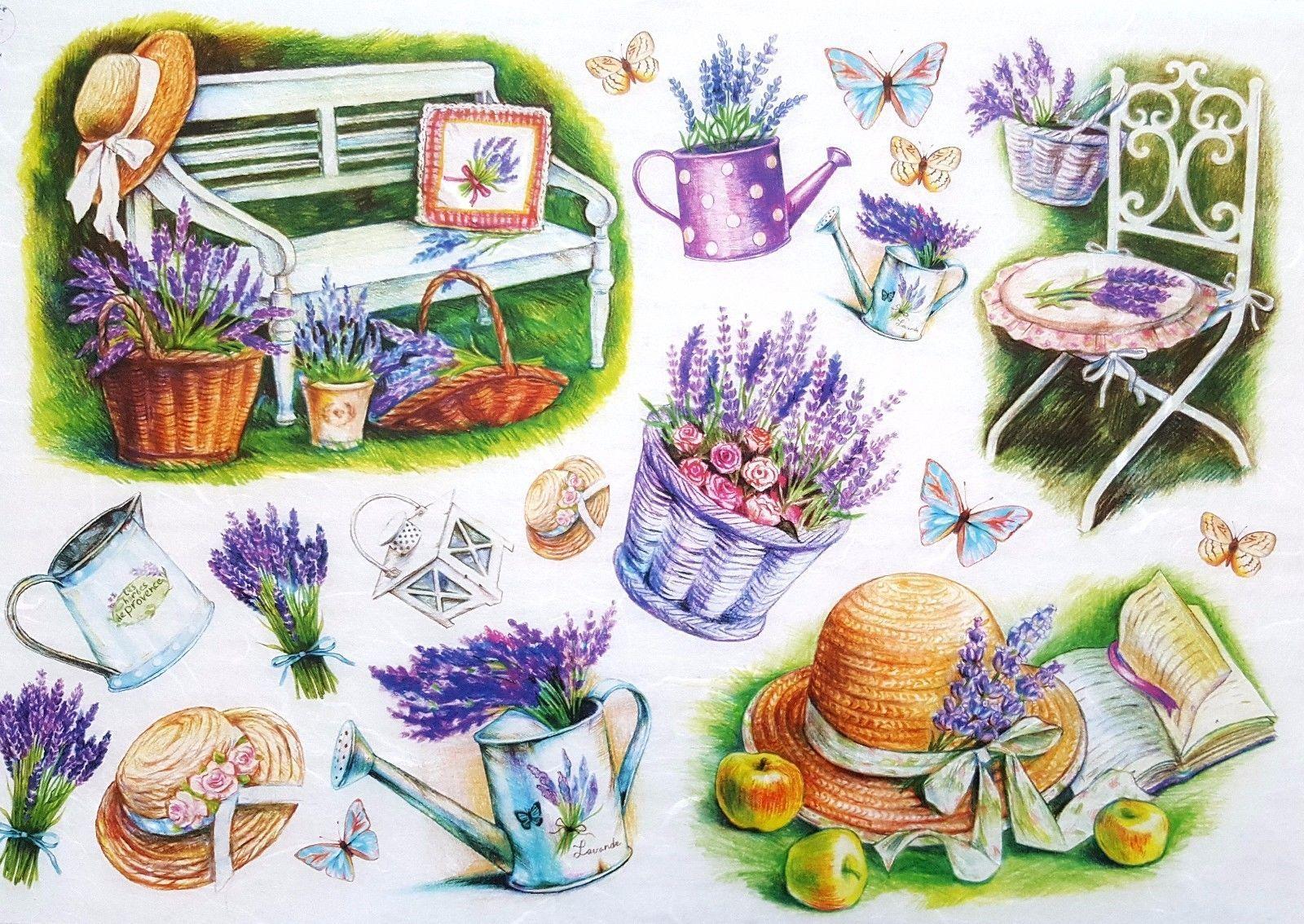 Rice Paper for Decoupage Decopatch Scrapbooking Sheet Craft Vintage Garden Laven