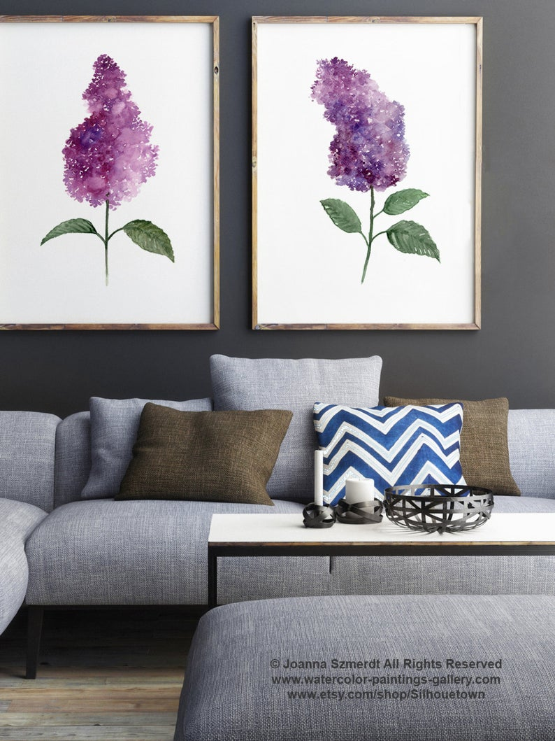 Lilac Watercolor Painting Set 2 Lilacs Illustration Purple Etsy In 2020 Watercolor Paint Set Watercolor Paintings Abstract Flowers