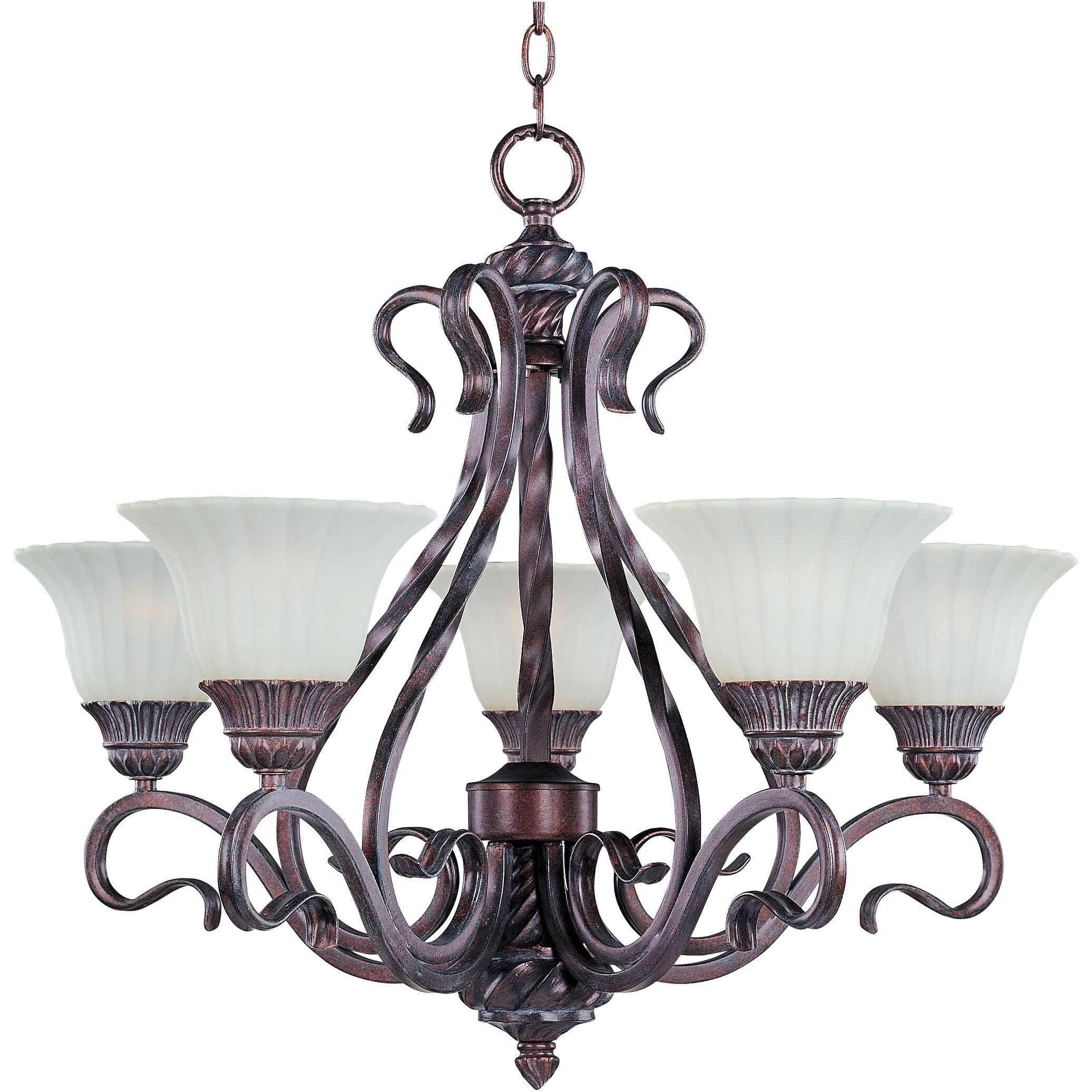 The Mediterranean Italian influenced Via Roma five light Chandelier