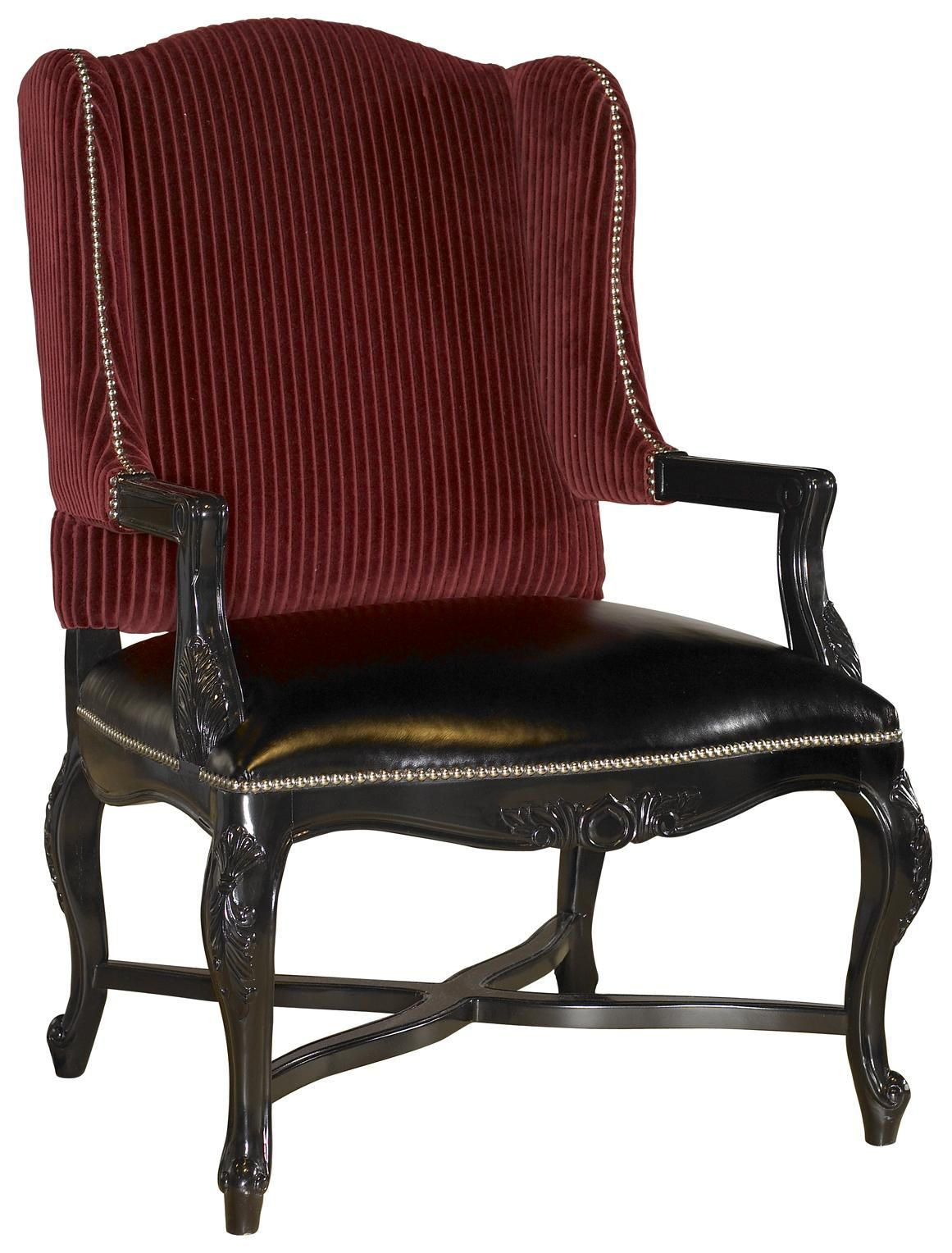 Barclay Square Kendal Wing Back Chair With Exposed Wood And Nailhead Trim By Lexington Home Brands