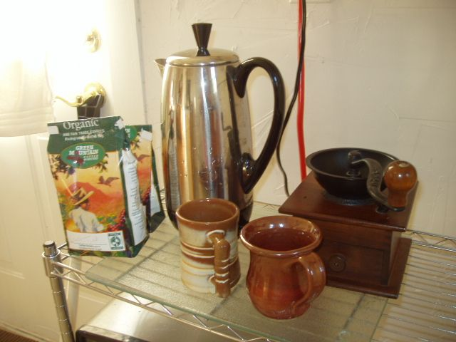 I love my percolator and hand grinder for making awesome coffee at our tiny lake cottage