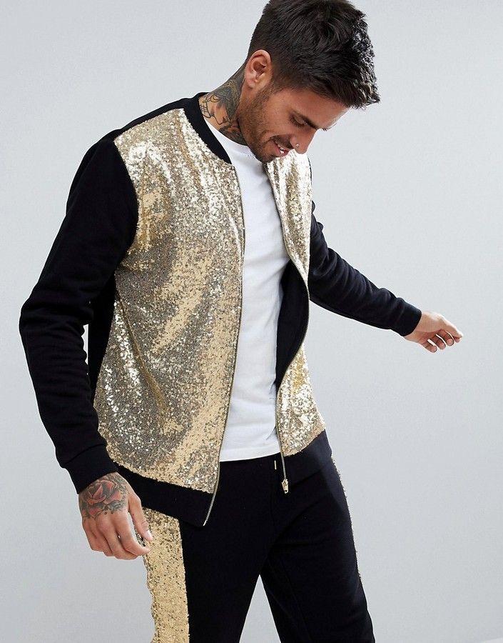 dc1c1884b2a44 ASOS Gold Sequin Bomber Jacket Mens fashion and style ideas  mensfashion   menswear  ad