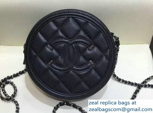 c926835aa5d4 Chanel CC Filigree Grained Round Clutch with Chain Bag A81599 All Black 2018