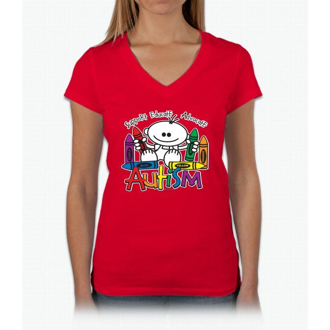 Autism Crayons Womens V-Neck T-Shirt