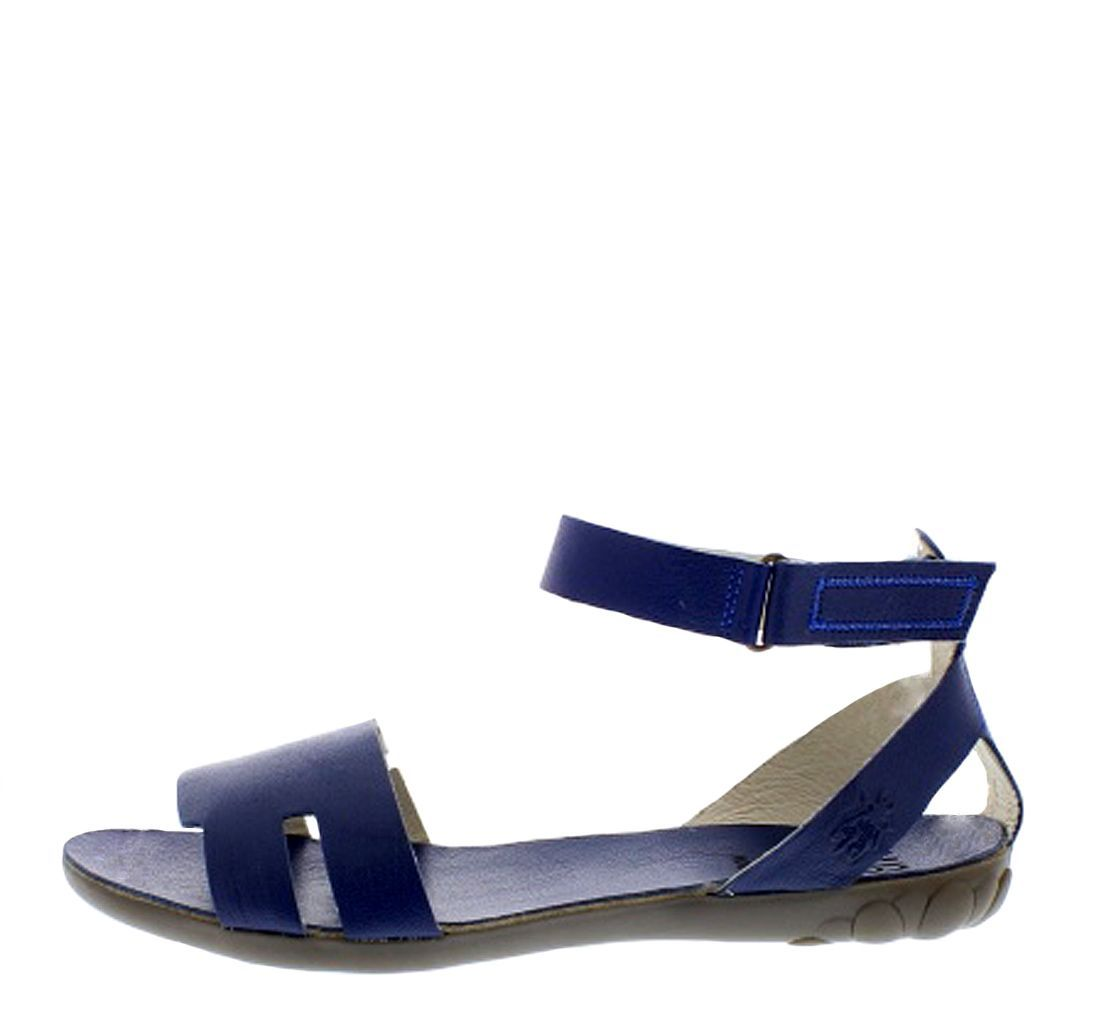 6743f5df4a7032 Fly London Fuxa Blue Flat Ankle Strap Open Toe Leather Sandals ...
