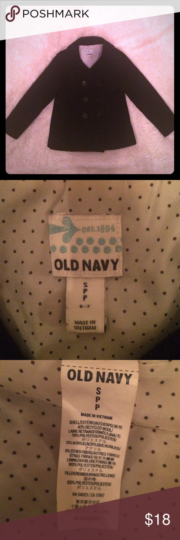 Old navy girls wool pea coat size small 6/7 You are looking at a cute warm fashionable girls wool pea coat by Old Navy. This coat is in good used condition with no defects or damages. Please let me know if you have any questions and thanks so much for looking! Old Navy Jackets & Coats Pea Coats