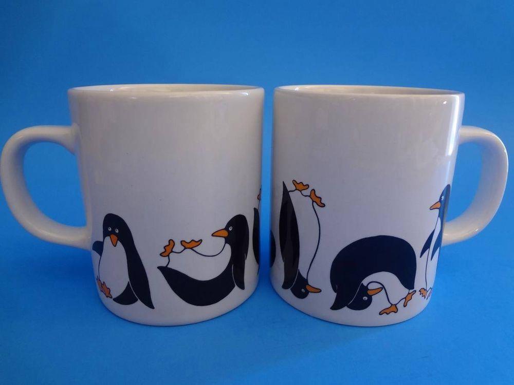 Wow Set (2) PENGUIN Vintage COFFEE Mug TEA Cup SOMERSAULT Tumbling BIRD Tuxedo