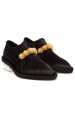 "Simone Rocha Embellished Ponyskin Flats, $1,439; <strong><a href=""http://www.brownsfashion.com/product/038S52770002/041/embellished-ponyskin-flats"" target=""_blank"">brownsfashion.com</a></strong>"