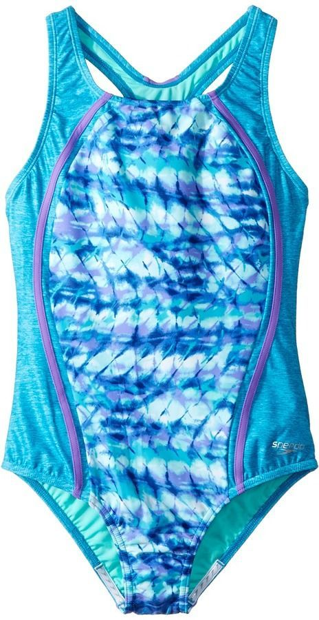 44ebd0eea0c2c Speedo Kids - Digi Zigzag Heather Sport Splice Girl's Swimwear ...