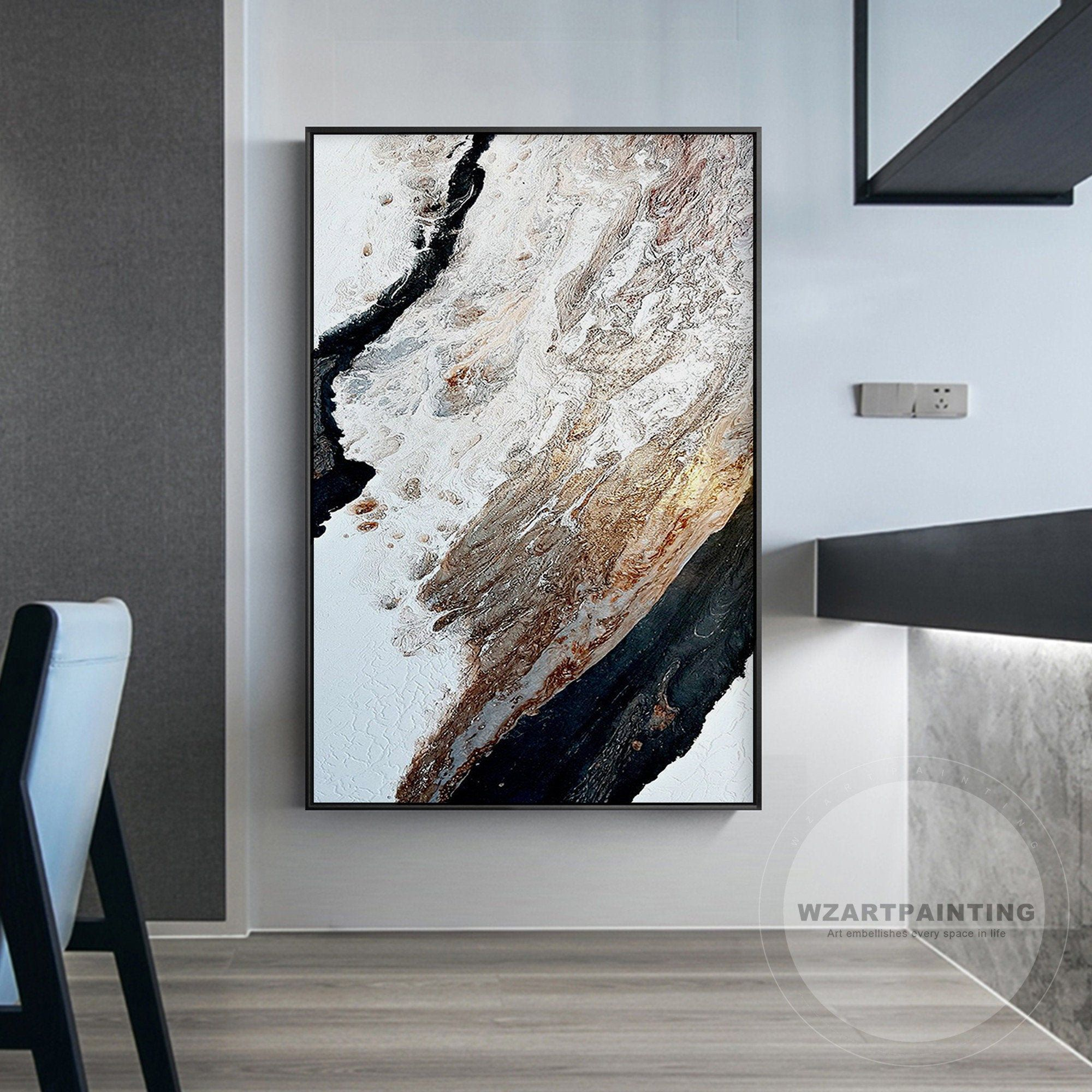 New Modern Abstract Black Brown Seascape Wave Ocean Prints Painting On Canvas Large Wall Art Picture Fram Wall Art Pictures Large Wall Art Framed Wall Art Sets