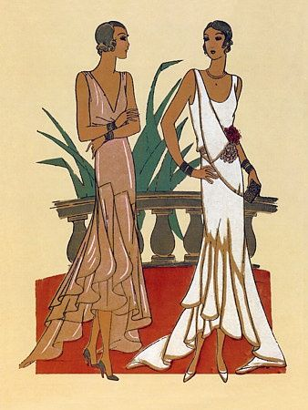 Art Deco fashion: Dress form is narrow and relaxed, tubular skirts, ankles began to show, new draping and seaming, beads and feathers, abstract and graphic.