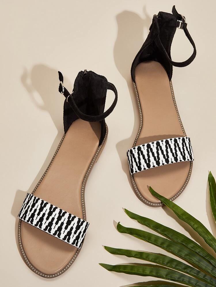 Color Block Ankle Strap Open Toe Sandals Shein Usa Open Toe Sandals Spring Sandals Open Toe