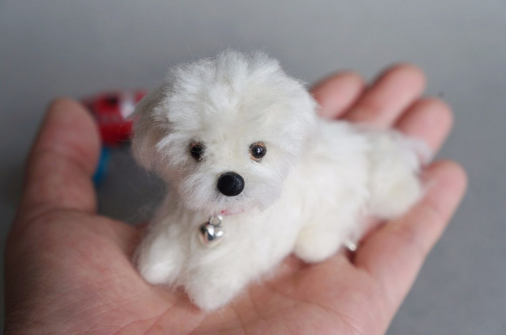 Needle Felted Maltese Dog Puppy Miniature Animal Wool White