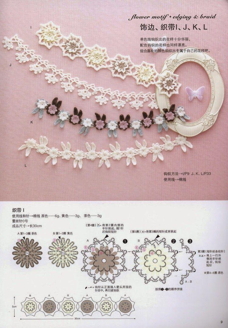 схемы вязания крючком украшений и аксессуаров Apliques Crochet