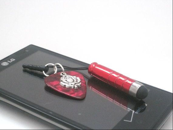 Guitar Pick  Charm Mini Stylus Charm Cell Phone by cynhumphrey, $7.99