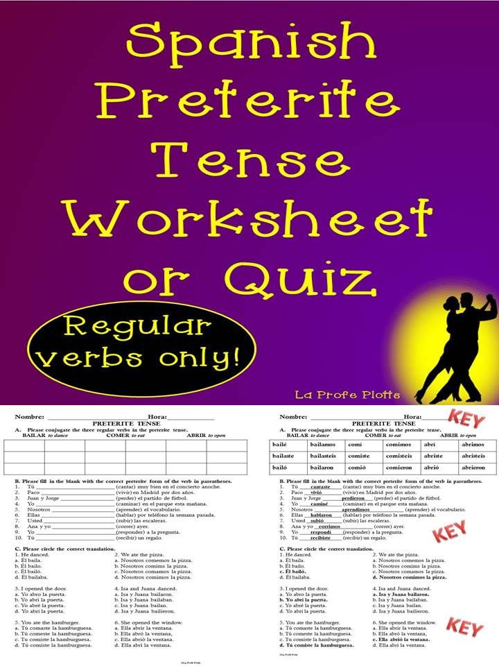 Spanish Preterite Tense Worksheet or Quiz