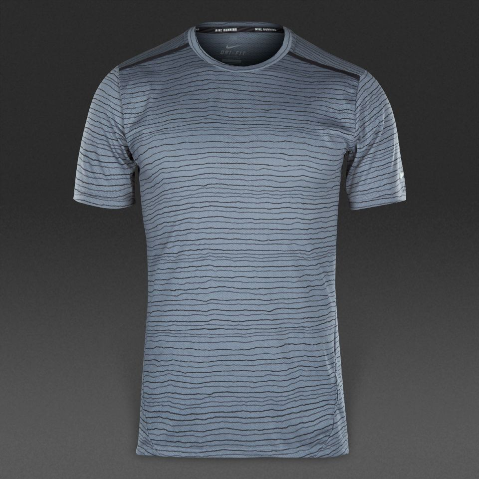 Nike Dri-Fit Cool Tailwind Stripe Short Sleeve - Mens Clothing - Cool Grey/Reflective  Silver