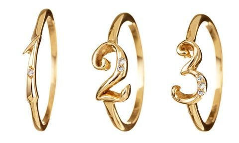 gold & diamond number rings