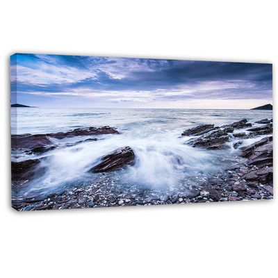 DesignArt 'Waves Crashing at Beach' Photographic Print on Wrapped Canvas Size: