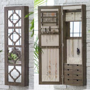 Wall Mounted Locking Mirrored Jewelry Armoire Driftwood Wall
