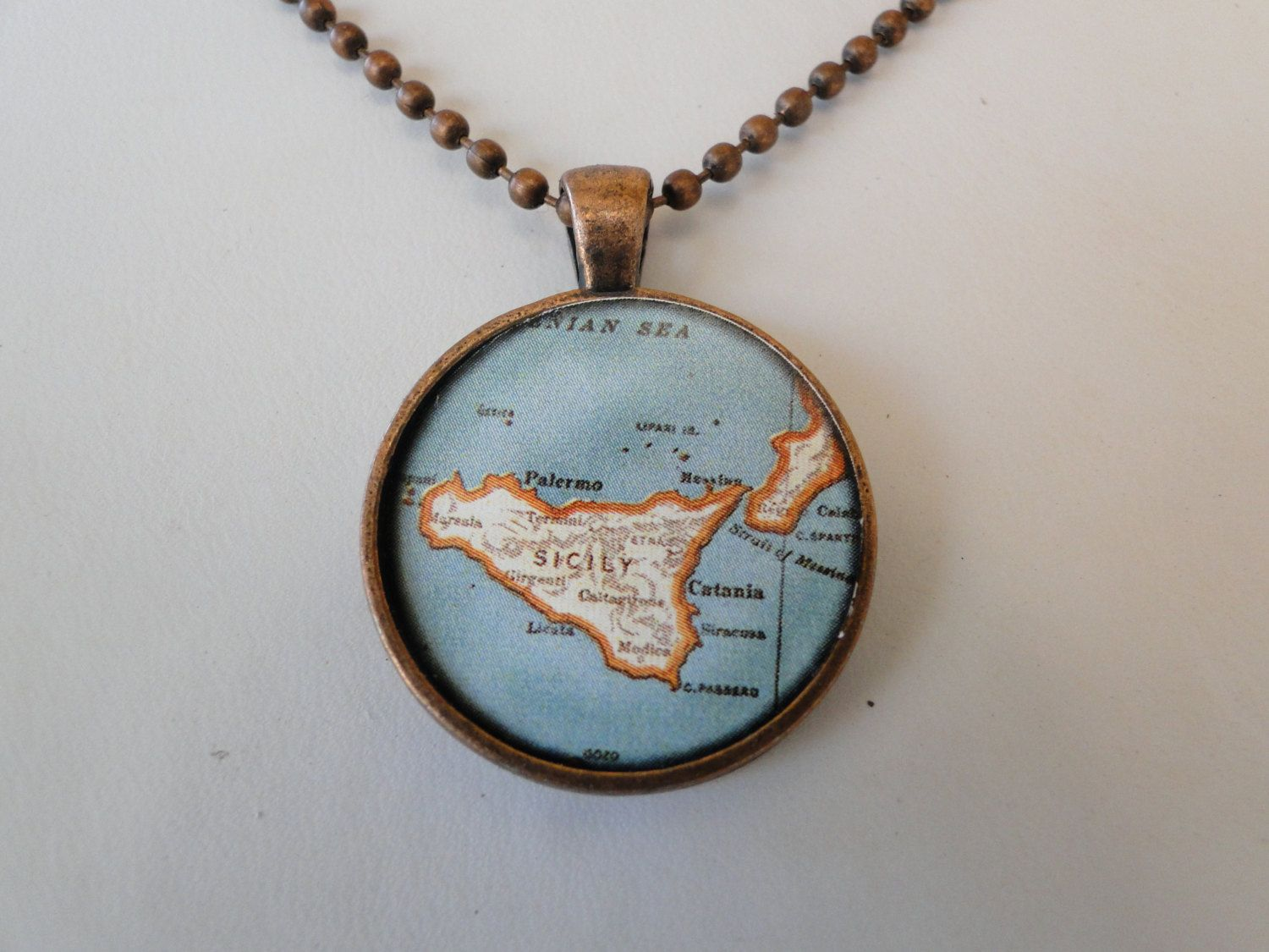 Vintage Map Of Italy Necklace No 189 by AlexandraAndCo on Etsy, $12.00
