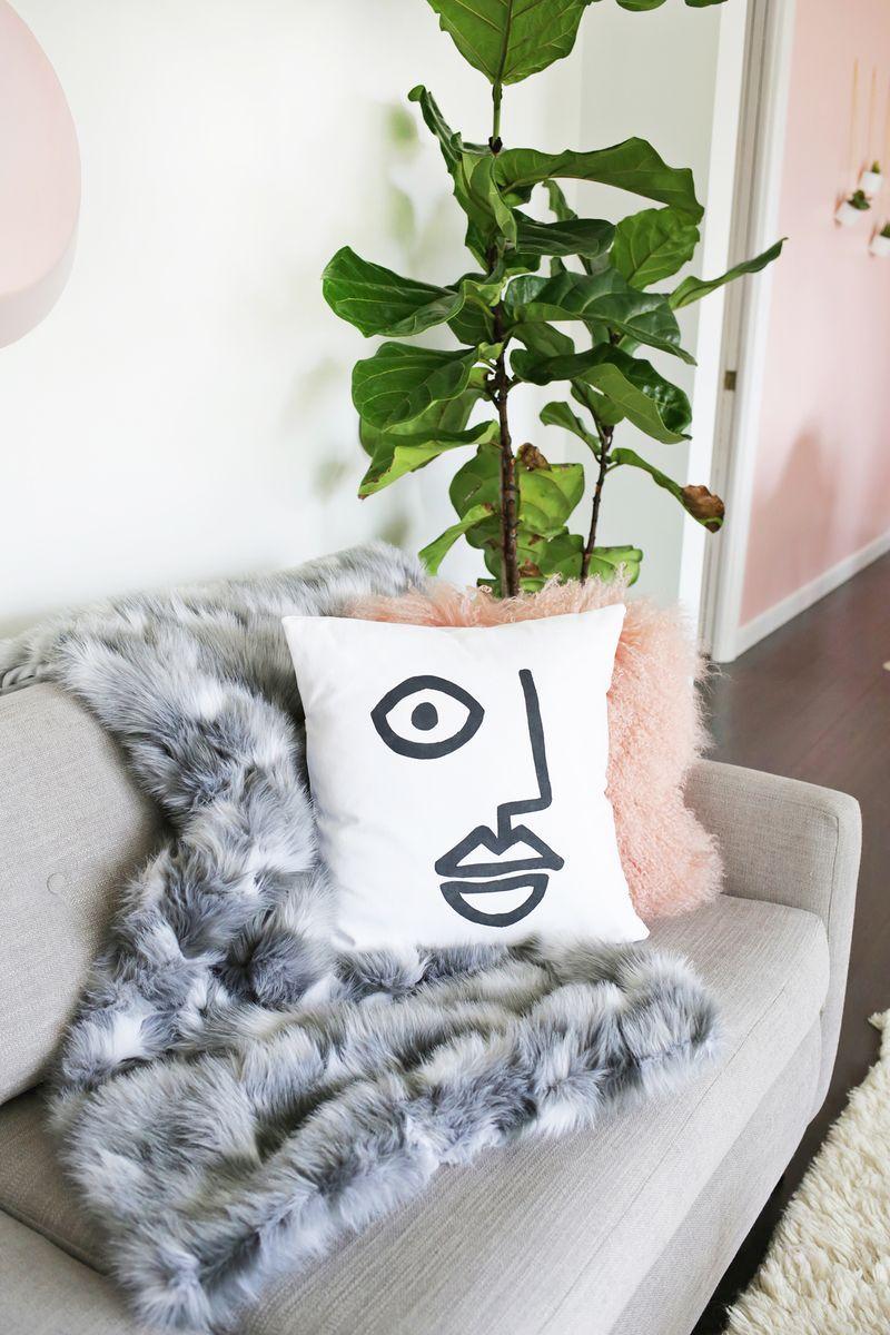 Easy abstract face pillow diy click through for tutorial