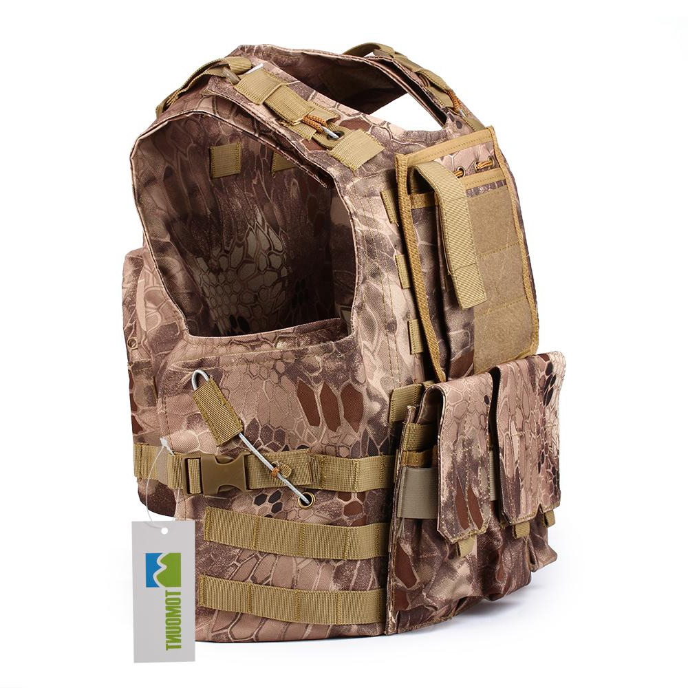 53.99$  Watch now  - Airsoft Combat Carrier Vest Field Outdoor Mens Ourdoor Game Army Camouflage New MOLLE Plate USMC Police