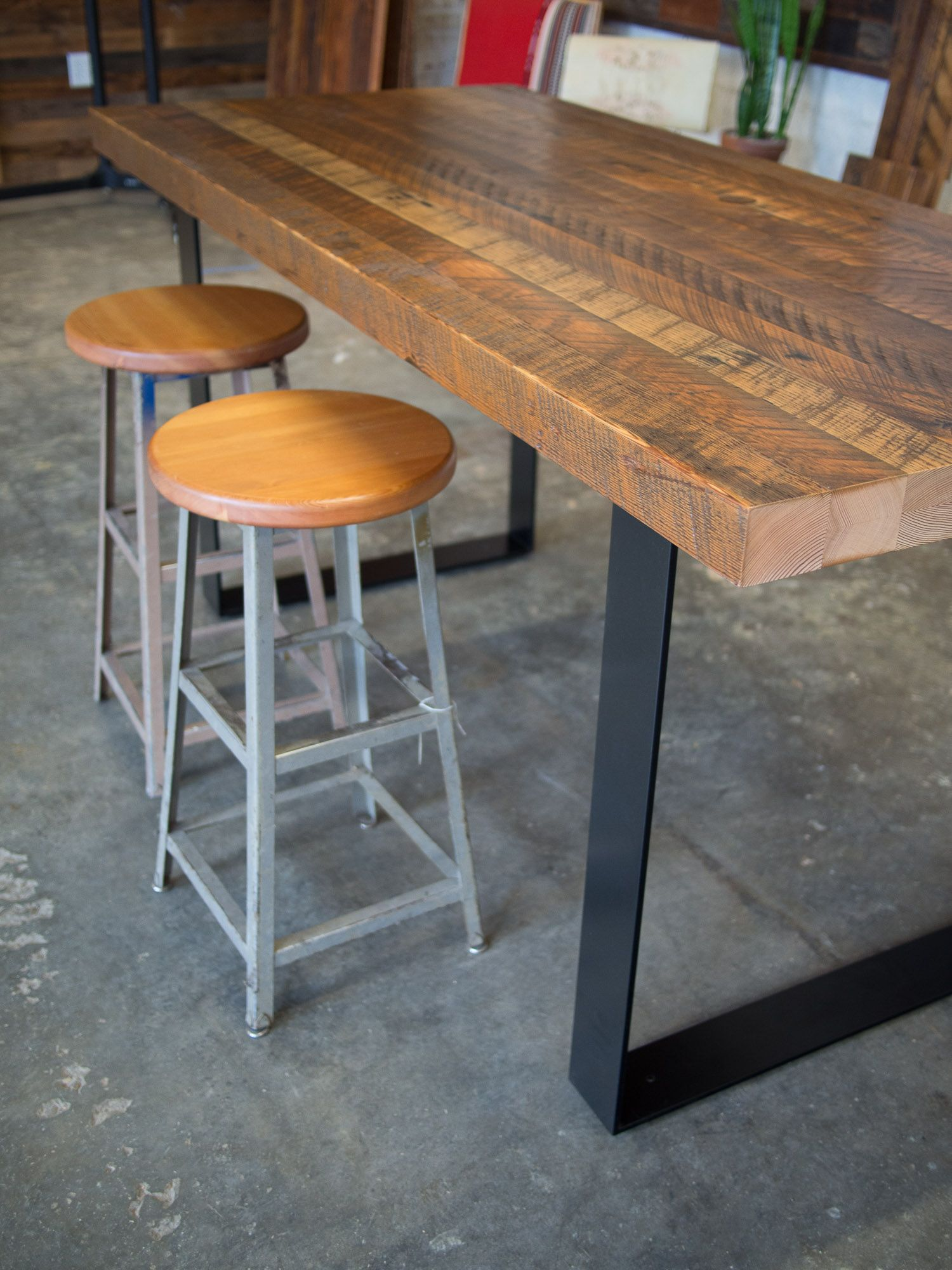 Custom High Top Table And Vintage Stools For A Customer S Modern Farmhouse Kitchen High Top Tables Pub Table Sets High Top Table Kitchen Modern high top table