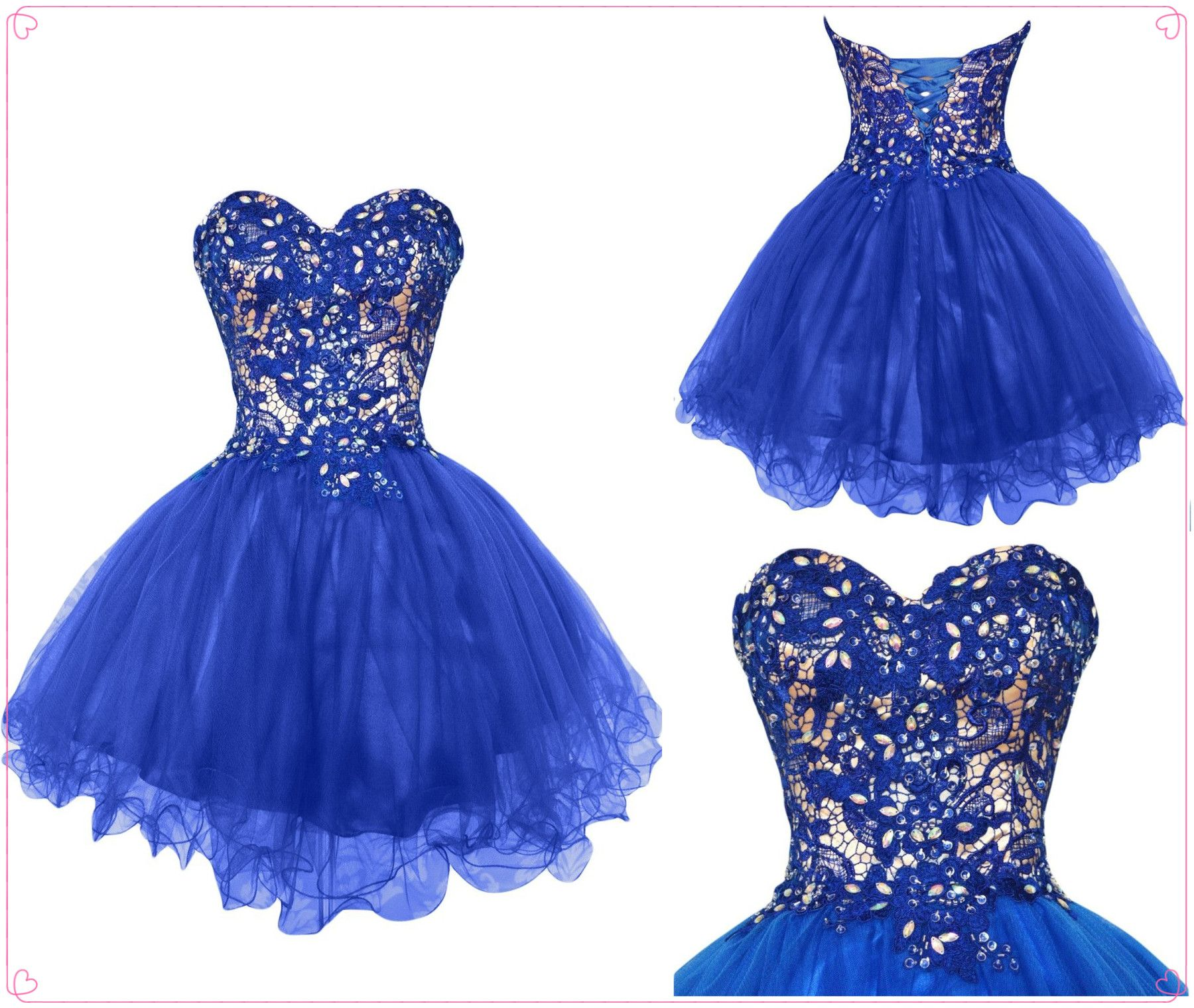 Hot ball gown tulle sweetheart appliqued beaded short homecoming