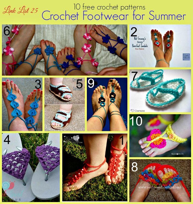 10 Free Crochet Footwear Patterns for Summer