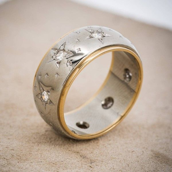 Vintage 14k Gold and Diamond Star Wedding Band httpwwwh1912com