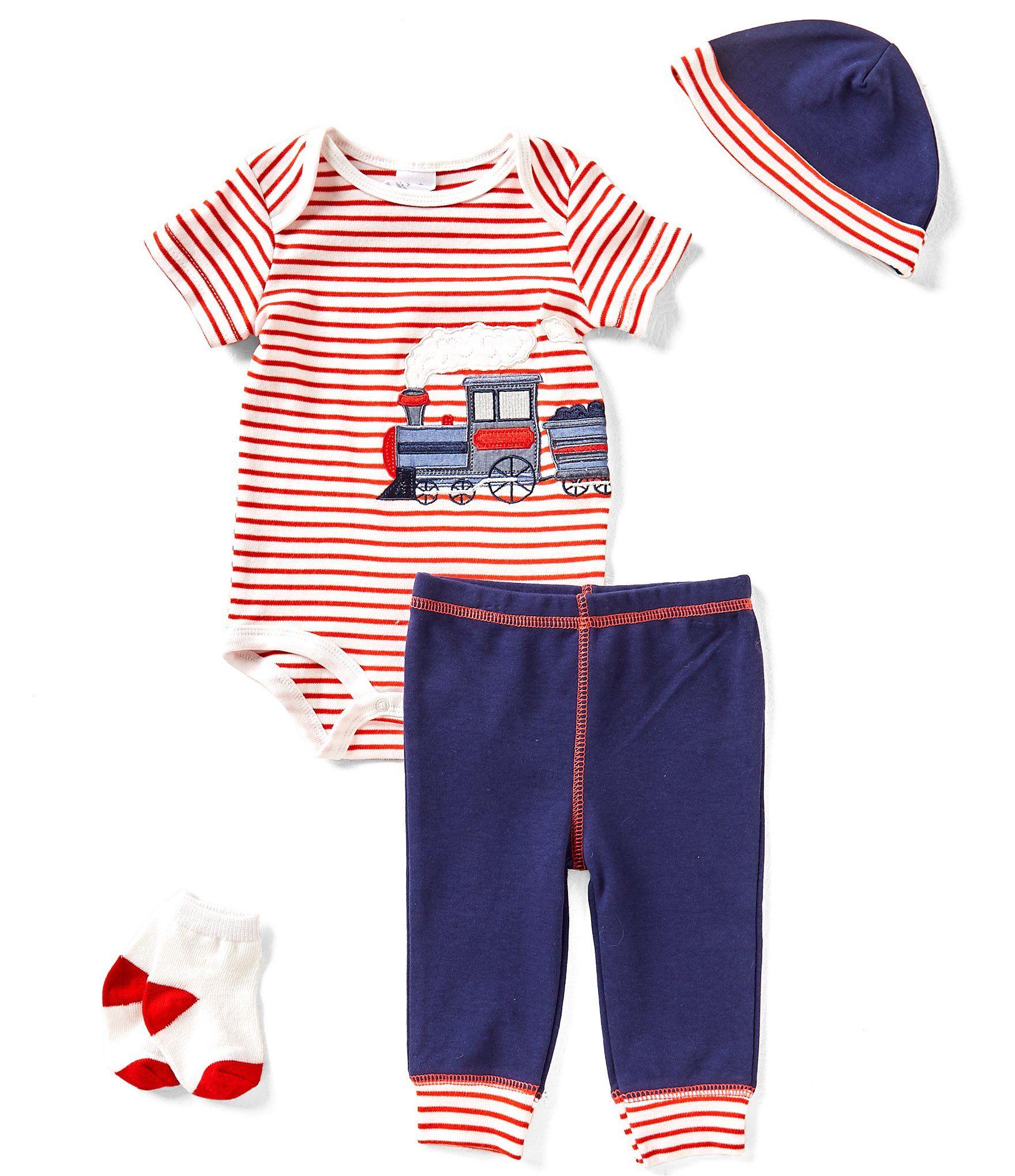 Starting Out Baby Boys Newborn 9 Months Striped Train 4 Piece