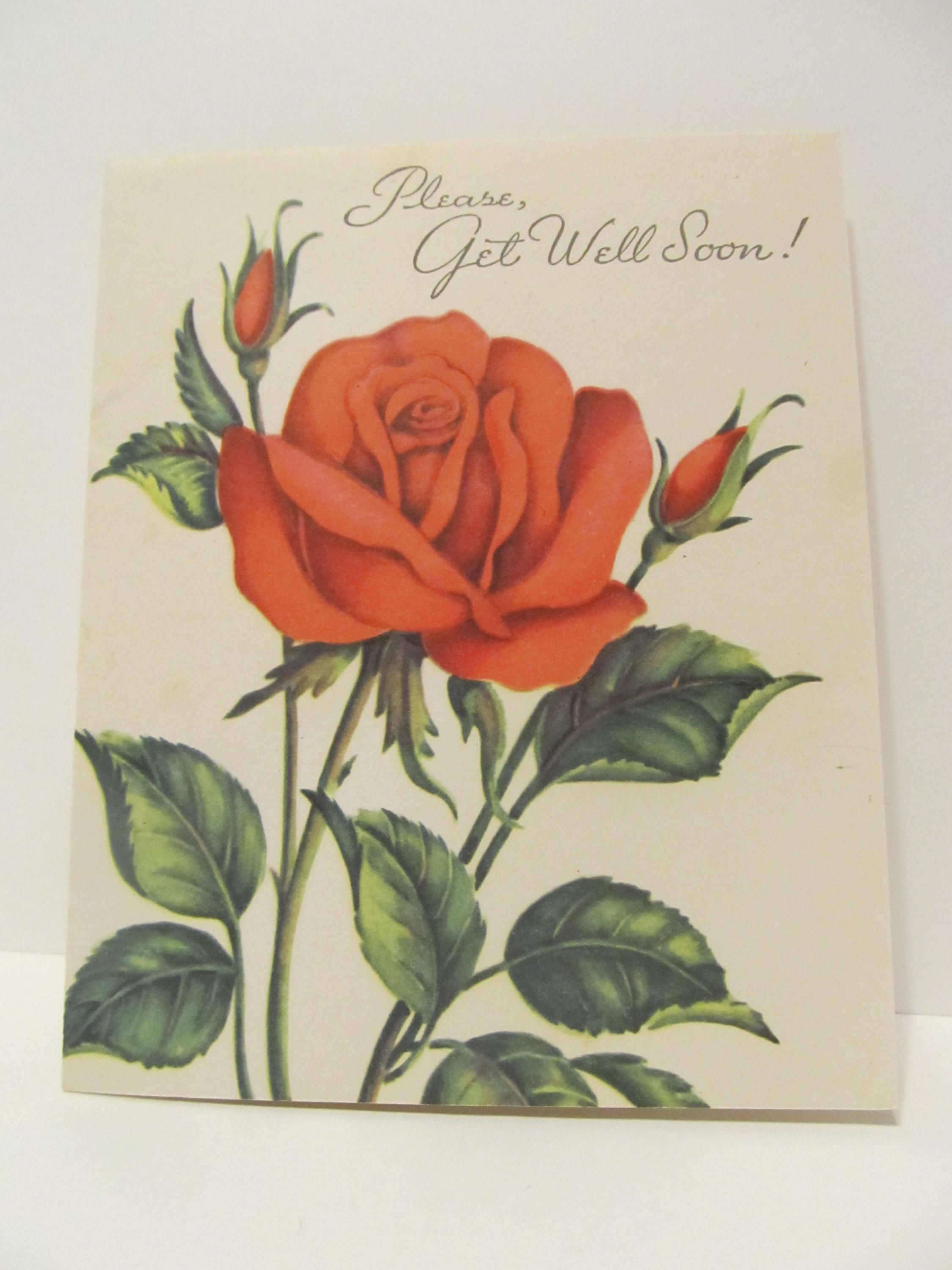Please Get Well Soon Red Roses Get Well Greeting Cards Recycled