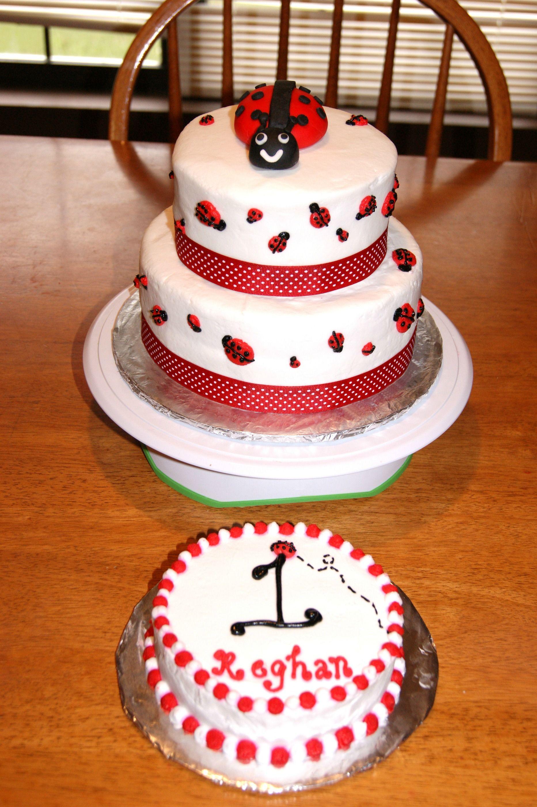 Enjoyable Ladybug Birthday Cake And Smash Cake Cakechickcakes Com Personalised Birthday Cards Veneteletsinfo