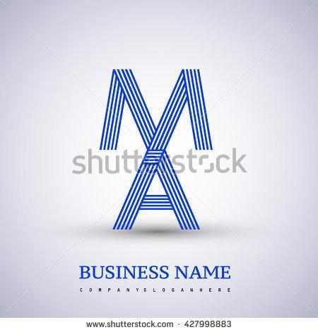 Letter MA linked logo design. Elegant blue colored letter symbol.  Vector logo design template elements for company identity. - stock vector