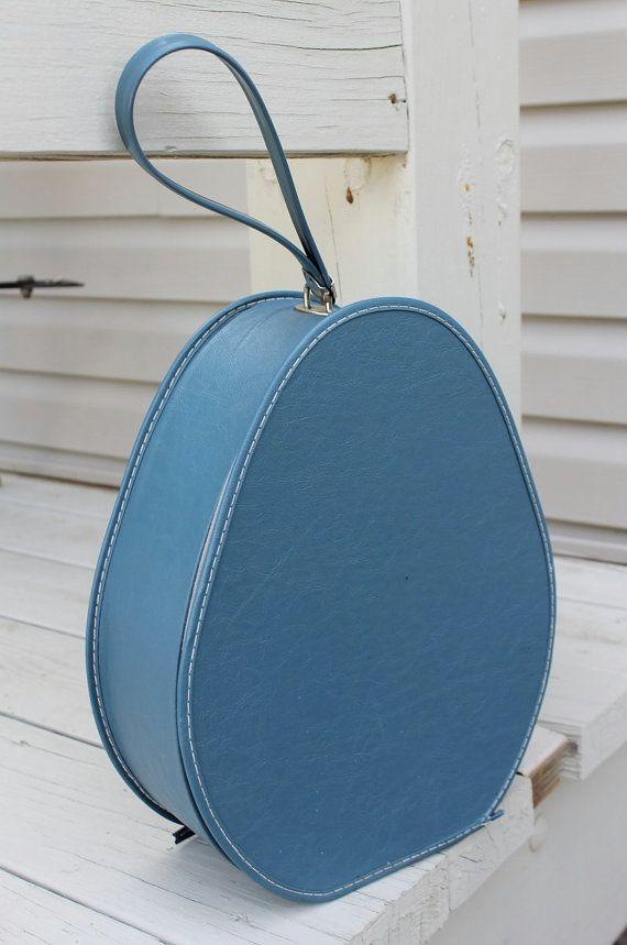 Vintage Blue Hat Suitcase With Zipper Hat Case By Oldfangledfinds 25 00 Blue Hat Vintage Blue