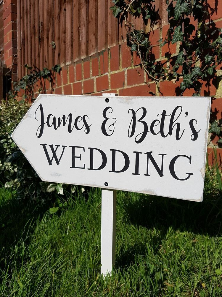 Vintage wedding this way wooden directional sign personalised | I Do ...