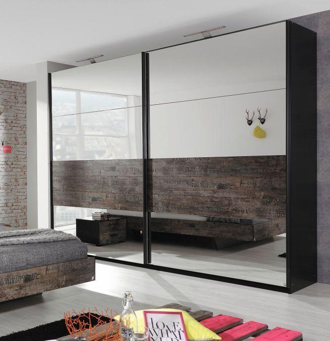 STARDUST Schwebetürenschrank schwarz Vintage 270 cm mit Spiegel - spiegel für schlafzimmer
