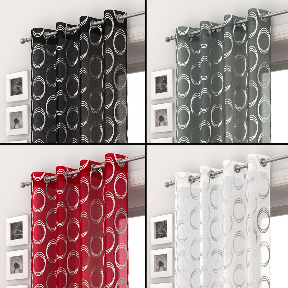 Silver circles voile curtain panel ring top eyelet net black white ...