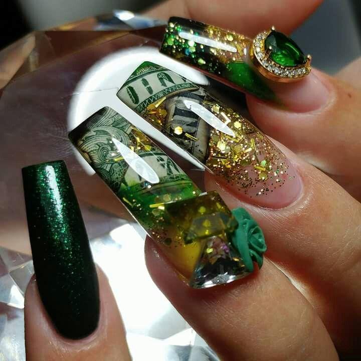 Money Nails Gold Nails Nail Designs Best Acrylic Nails
