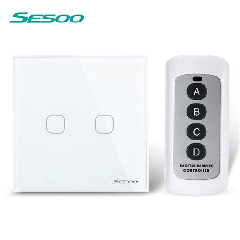 Sesoo Remote Control Switch 2 Gang 1 Way White Crystal Glass Switch Panel Remote Wall Touch Switch Led Indicator For S Remote Remote Control Touch Light Switch