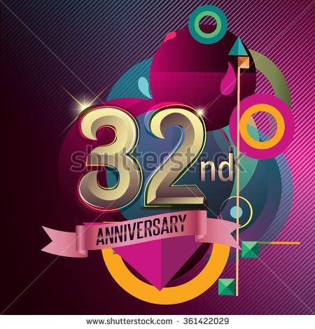32nd Anniversary Party Poster Invitation Background