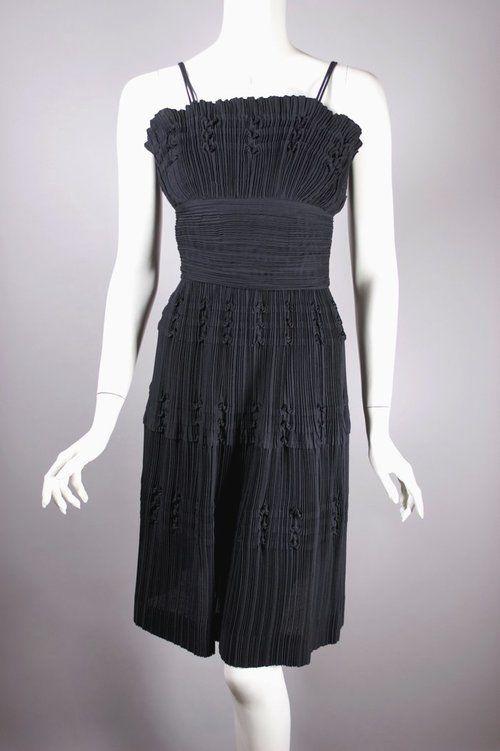 f6c95aac2711 Black cotton sundress 1950s 1960s dress size XXS teen junior size pleats