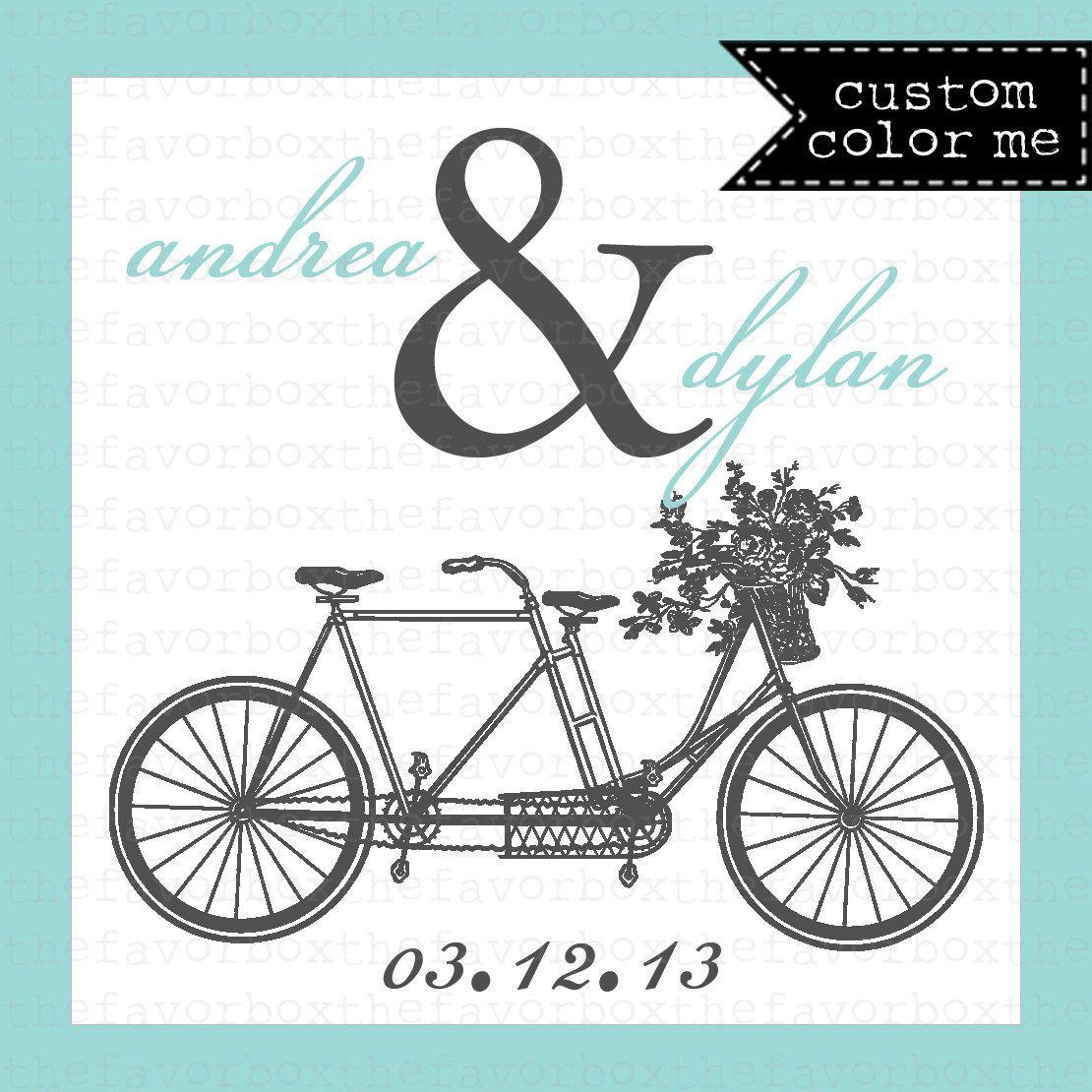 Tandem Bike Wedding Favor Label // Tandem Bike Label // Personalized ...