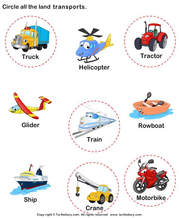 Identify Land Transports Answer Transportation Crafts Preschool