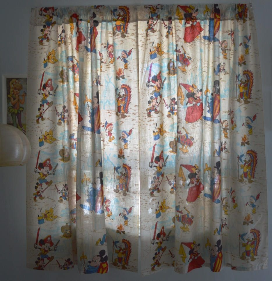 Walt Disney Curtains With Characters Playing Cowboys Pirates Knight Princess