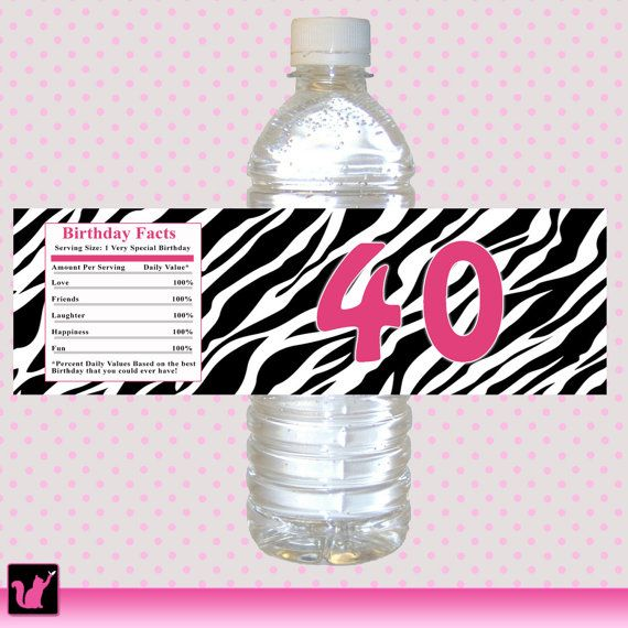 Zebra Jungle Hot Pink Adult Birthday Party Water Bottle Labels ...